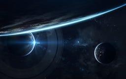 Papier peint de l'espace de la science-fiction, planètes incroyablement belles, galaxies Éléments de cette image meublés par la N images stock