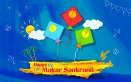 Papier peint de Makar Sankranti avec le cerf-volant coloré illustration de vecteur