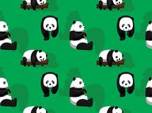 Papier peint de Panda Bear Green Background Seamless Illustration Stock