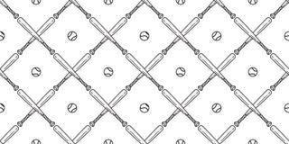 Papier peint de répétition d'illustration de fond de tuile d'isolement par écharpe sans couture de batte de baseball du base-ball illustration de vecteur