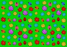 Papier peint du ` s d'enfants avec des fleurs et des coccinelles Image libre de droits
