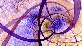 Papier peint en spirale avec un modèle entrelacé complexe dans le rose en pastel vif, pourpre, orange image stock