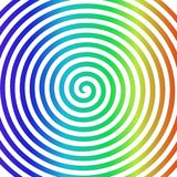Papier peint en spirale hypnotique de vortex abstrait rond blanc d'arc-en-ciel Photos stock
