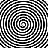 Papier peint en spirale hypnotique de vortex abstrait rond blanc noir Image stock