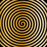 Papier peint en spirale hypnotique de vortex abstrait rond noir d'or Photos stock