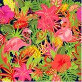 Papier peint estival tropical sans couture avec les paires du flamant et le modèle coloré floral exotique pour le tissu, textile, Photos libres de droits