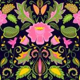 Papier peint floral fleuri de vintage avec les fleurs et les oiseaux exotiques Image libre de droits