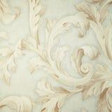 Papier peint gris de victorian de vintage avec la vignette baroque beige Photographie stock