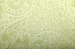 Papier peint gris et vert de vintage avec le modèle de Paisley Images libres de droits