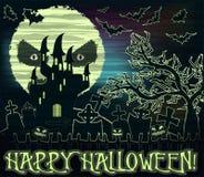 Papier peint heureux de Halloween avec la lune et le château illustration de vecteur