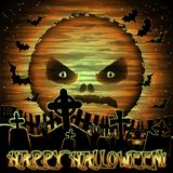 Papier peint heureux de Halloween avec la lune et le cimetière illustration libre de droits