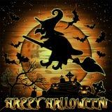 Papier peint heureux de Halloween avec la sorcière sur un manche à balai, vecteur illustration stock