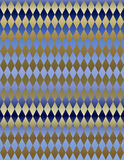 Papier peint métallique bleu de fond de harlequin d'or Photo stock