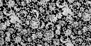 Fond noir et blanc floral Image libre de droits