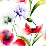 Papier peint sans couture avec des fleurs de ressort Image libre de droits
