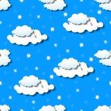 Papier peint sans couture avec des nuages et des flocons de neige Photo stock