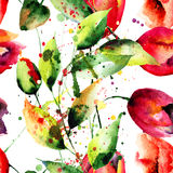 Papier peint sans couture avec les fleurs sauvages Photos libres de droits