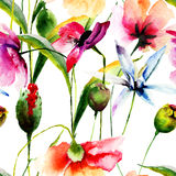 Papier peint sans couture avec les fleurs sauvages Images stock