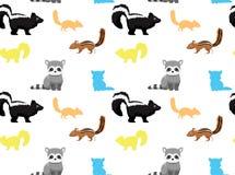 Papier peint sans couture 1 d'animaux de mouffette de raton laveur de tamia Photos libres de droits
