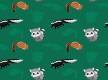 Papier peint sans couture 4 d'animaux de mouffette de raton laveur de tamia Photo libre de droits