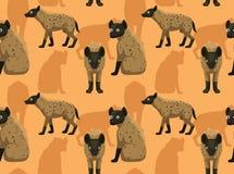 Papier peint sans couture d'hyène de fond mignon de bande dessinée illustration libre de droits