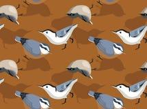 Papier peint sans couture d'oiseau de fond mignon de sittelle illustration libre de droits