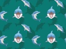 Papier peint sans couture de dauphin de sourire de fond mignon de bande dessinée illustration libre de droits