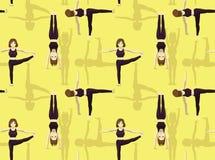 Papier peint sans couture de Manga Yoga Handstand Pose Background Illustration de Vecteur
