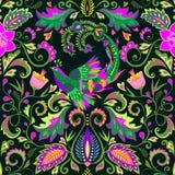 Papier peint sans couture floral de beau cru avec les fleurs exotiques et l'oiseau magique illustration de vecteur
