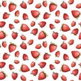 Papier peint sans couture - fraise lumineuse sur le fond blanc watercolour Images stock