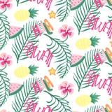 Papier peint sans couture gai de modèle d'Hawaï de plage des feuilles vert-foncé tropicales des palmiers et de l'oiseau de fleurs illustration stock