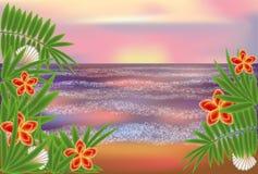 Papier peint tropical avec des paumes, vecteur Image stock