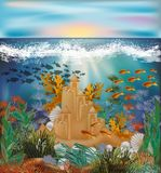 Papier peint tropical sous-marin avec le château de sable Image libre de droits