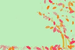 Papier peint vert clair avec les feuilles colorées illustration stock
