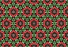 Papier peint vert rouge abstrait de modèle de fleur Photo libre de droits