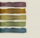 Papier quatre déchiré consécutif avec un bon nombre de pièce pour le texte et les descriptions illustration de vecteur