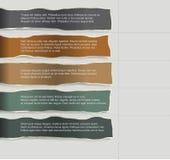 Papier quatre déchiré consécutif avec un bon nombre de pièce pour le texte et les descriptions Images libres de droits