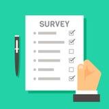 Papier réactif de conception de main d'enquête plate de participation Photos stock