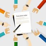 Papier réglementaire et stylo d'autorité de président de décret à être mains signées de participation de diversité autour illustration de vecteur