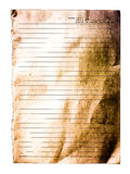 Papier rayé vieux par blanc d'isolement Photos stock