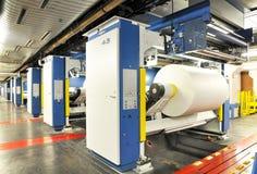 Papier rolki w drukowej maszynie wielkiego druku sklep obraz royalty free