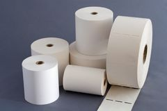 Papier Rolls für Registrierkasse Stockbild