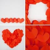 Papier rouge de coeur sur le tissu blanc pour le fond Photographie stock libre de droits