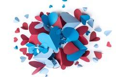 Papier rouge et bleu de coeur Images stock