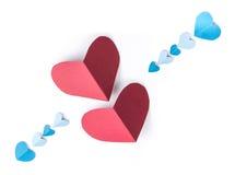 Papier rouge et bleu de coeur Photographie stock libre de droits