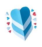 Papier rouge et bleu de coeur Photo libre de droits