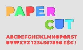 Papier schnitt Buchstabegussvektor papercut 3D Alphabet Lizenzfreie Abbildung