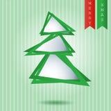Papier-Schnitt-Weihnachtsbaumhintergrund Stockfotografie