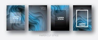 Papier-Schnitt-Wellen-Formen Überlagerter Kurve Origami entwirft für Geschäftsdarstellungen, Flieger, Poster Satz von Vertikale 4 stock abbildung