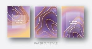 Papier-Schnitt-Wellen-Formen Überlagerter Kurve Origami entwirft für Geschäftsdarstellungen, Flieger, Poster Satz von Vertikale 3 stock abbildung
